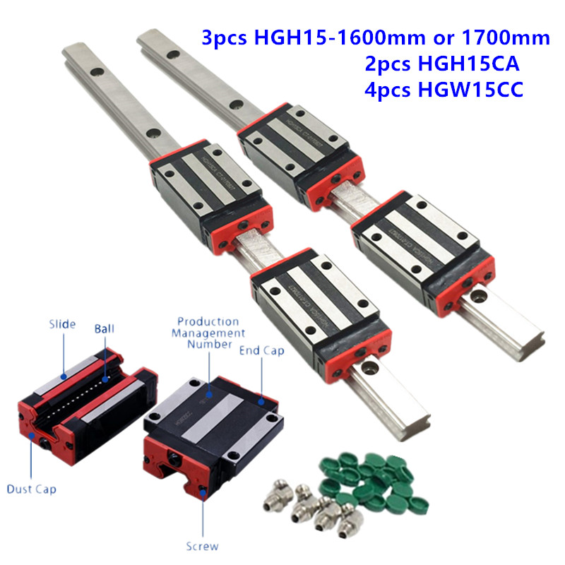3pc 15mm Linear Rail Set HGR15 1600mm or 1700mm Slide Guide with HGH15CA/hgw15cc Carriage Block for cnc parts-in Linear Guides from Home Improvement    1
