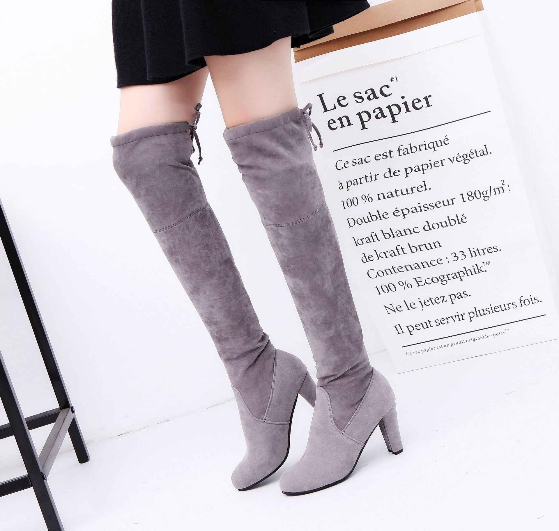 Kadın çizme Faux süet kadın diz botları Lace Up seksi yüksek topuklu ayakkabılar kadın kadın ince uyluk yüksek çizmeler 2019