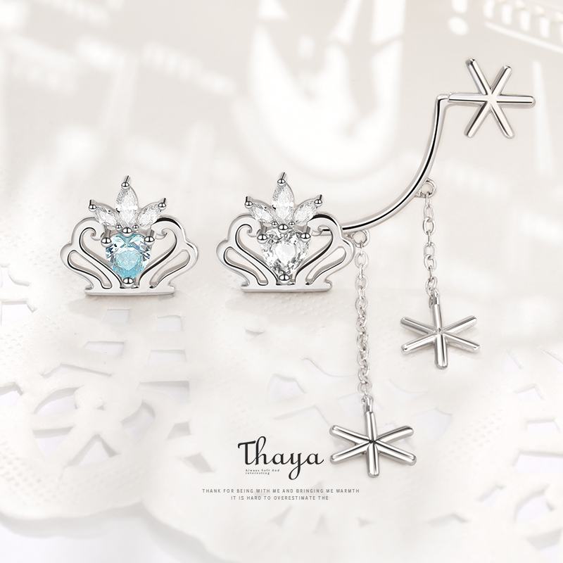 Fairy Tales Series Thaya Solid 925 Sterling Silver Snow Queen Stud Earrings For Women Engagement Gift Fine Jewerlry Earrings
