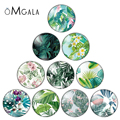 OMGALA Tropical Green Plant Leaf Round Glass Cabochon & Glass Dome Beads Jewelry Findings For Earring Necklace Keychain 12-30mm