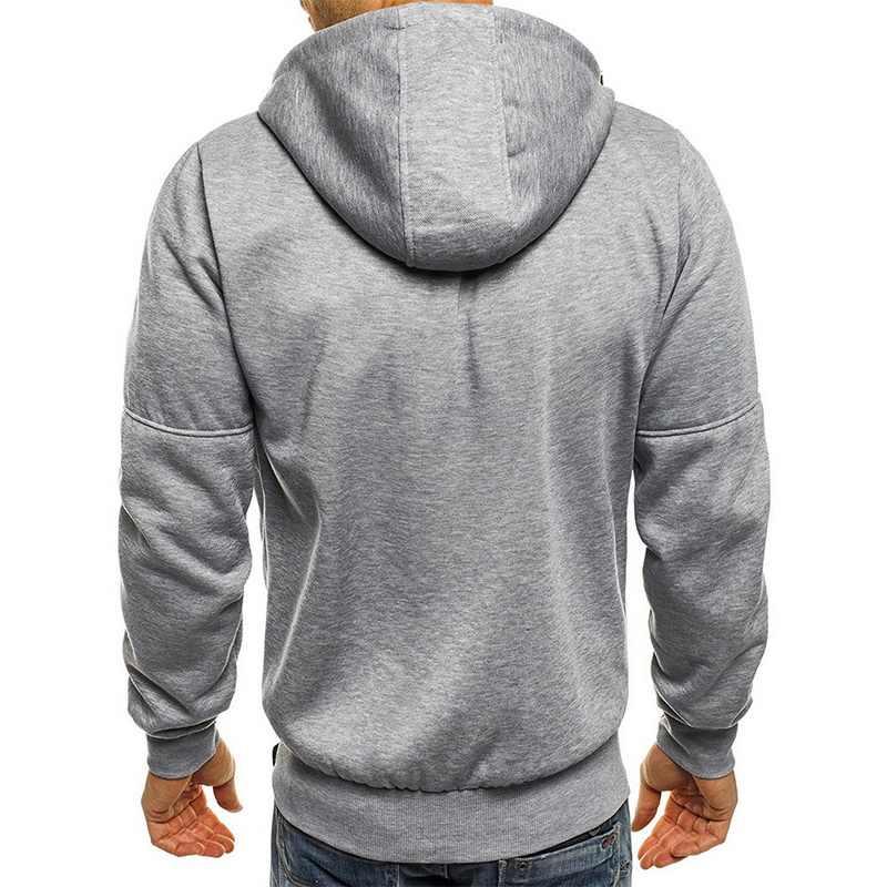 양털 재킷 지퍼 패치 워크 후드 티 스웨터 가을 카디건 스웨터 남성 인과 streetwear 힙합 스포츠웨어