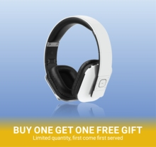 August EP650 - Bluetooth Headphones with 3.5mm Audio In Wireless or Wired Stereo Headset NFC Tap to Connect White