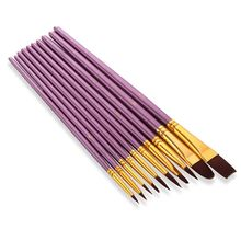 T3EE 10Pcs Artist Paint Brush Round Pointed Tip Nylon Hair Artist Brush for Acrylic Watercolor Oil Painting cheap CN(Origin) Wood Oil brush 3 YEARS OLD T3EE7HH802655-BK
