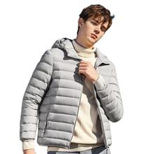 SEMIR 브랜드 다운 재킷 남성 캐주얼 패션 겨울 자켓 남성용 후드 윈드 브레이커 화이트 오리 코트 남성 방수 의류