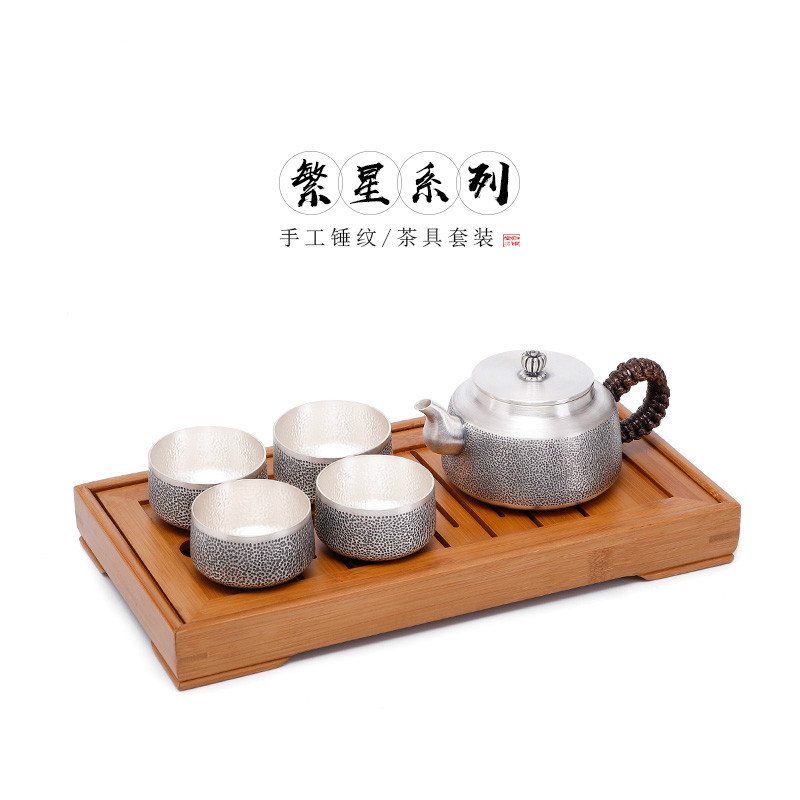 Sterling Silver 999 Tea Set Set Handmade Silver Kung Fu Tea Set Teapot Silver Cup Kettle Household Silver Teapot New Year Gift