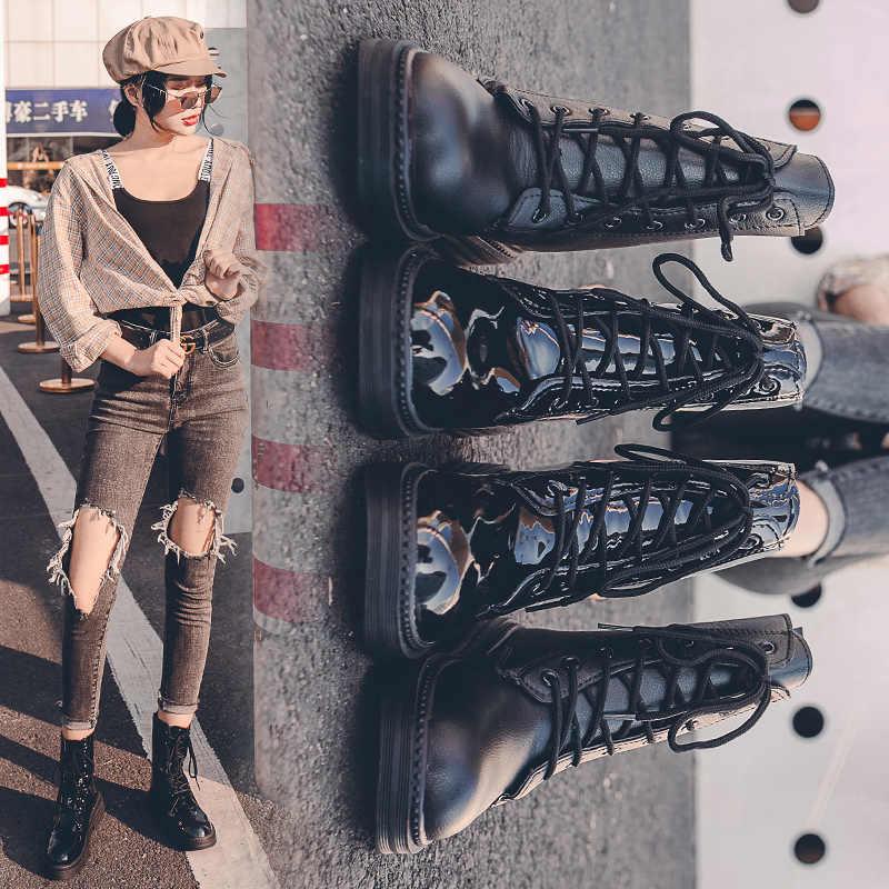 Botas de Mujer 2019 zapatos de invierno para Mujer Botas de cuero Martin de charol de nieve Botas de felpa dentro de Botas Mujer Botas impermeables Botas femeninas