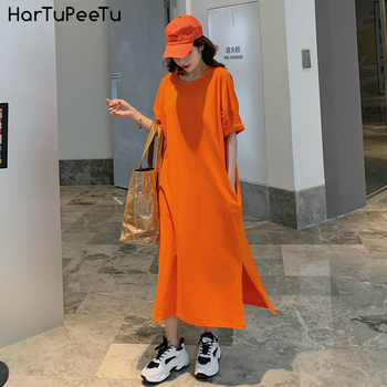 Loose T Shirt Dress Women Cotton 2020 Summer Oversize Casual Maxi Dress Sexy Side Split Plain Solid Half Sleeve Pockets Long Tee rolled cuff pockets side split curved dress