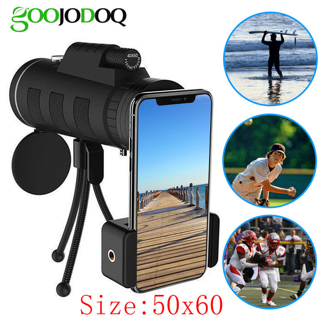 For iphone X Lens 18x telescope zoom mobile phone lens for Mobile Phone ipad Super Zoom 50X60 with Compass Phone Clip Tripod