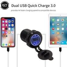 Быстрая зарядка QC3.0 автомобильное зарядное устройство розетка 12 В/24 В двойной USB алюминий водонепроницаемый с голубой светодиодный Быстрая зарядка для samsung Планшеты MP3