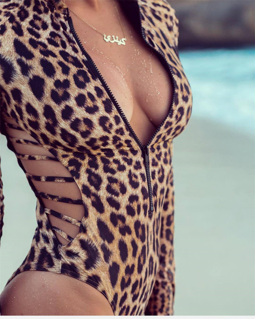 Long Sleeved, Rash Guard, Snake Skin, Leopard Print, Zippered One Piece Swimsuit 18