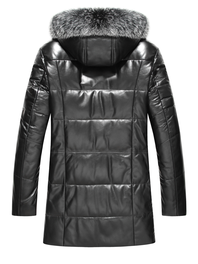 Plus Size Mens Real Sheepskin Leather Jacket Winter Natural Fox Fur Collar Down Coat Jaqueta De Couro M18C006 LX2360