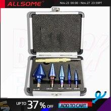 Allsome 6 pçs hss nano azul revestido passo broca com centro perfurador conjunto buraco cortador ferramenta de perfuração ht2887