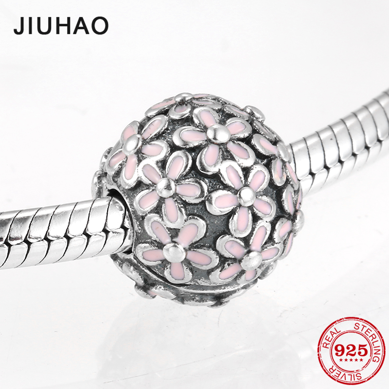 Hot 925 Sterling Silver Fashion Pink Enamel Petal Flower Clips Lock Beads Fit Original European Charm Bracelet Jewelry Making