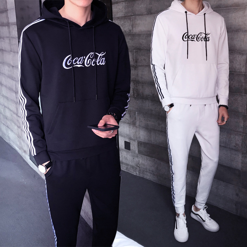 Sports Set Men's Spring And Autumn Korean-style Trend Casual Wear Long Sleeve Hooded MEN'S Hoodie Two Piece Set Slim Fit Coat