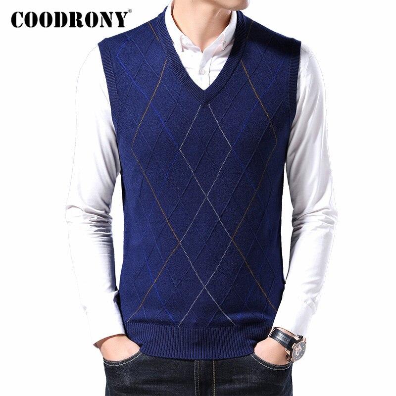 COODRONY Brand Sweater Men Autumn Winter Soft Warm Wool Pullover Men Business Casual Sleeveless Vest Men Cashmere Knitwear 91092