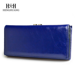 Image 2 - Kadın cüzdan yüksek kaliteli yağ balmumu hakiki deri cüzdan kadın uzun bayanlar bozuk para cüzdanı kart tutucu Femme mavi çanta