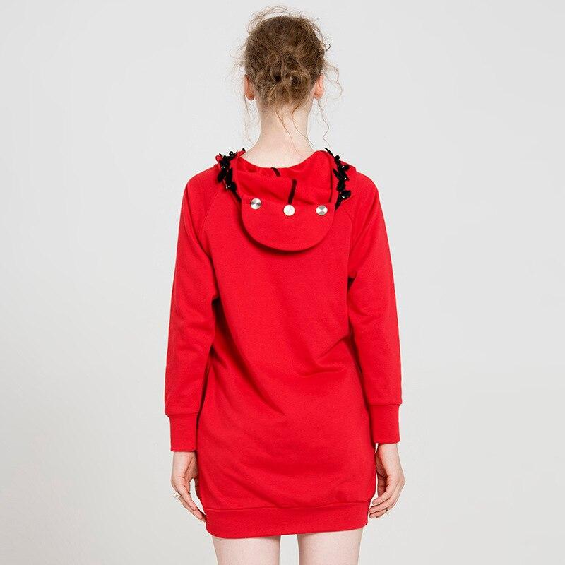 Yigelila свободное красное пальто с длинным рукавом из чистого хлопка, Модный пуловер с капюшоном, толстовка 7649 - 3