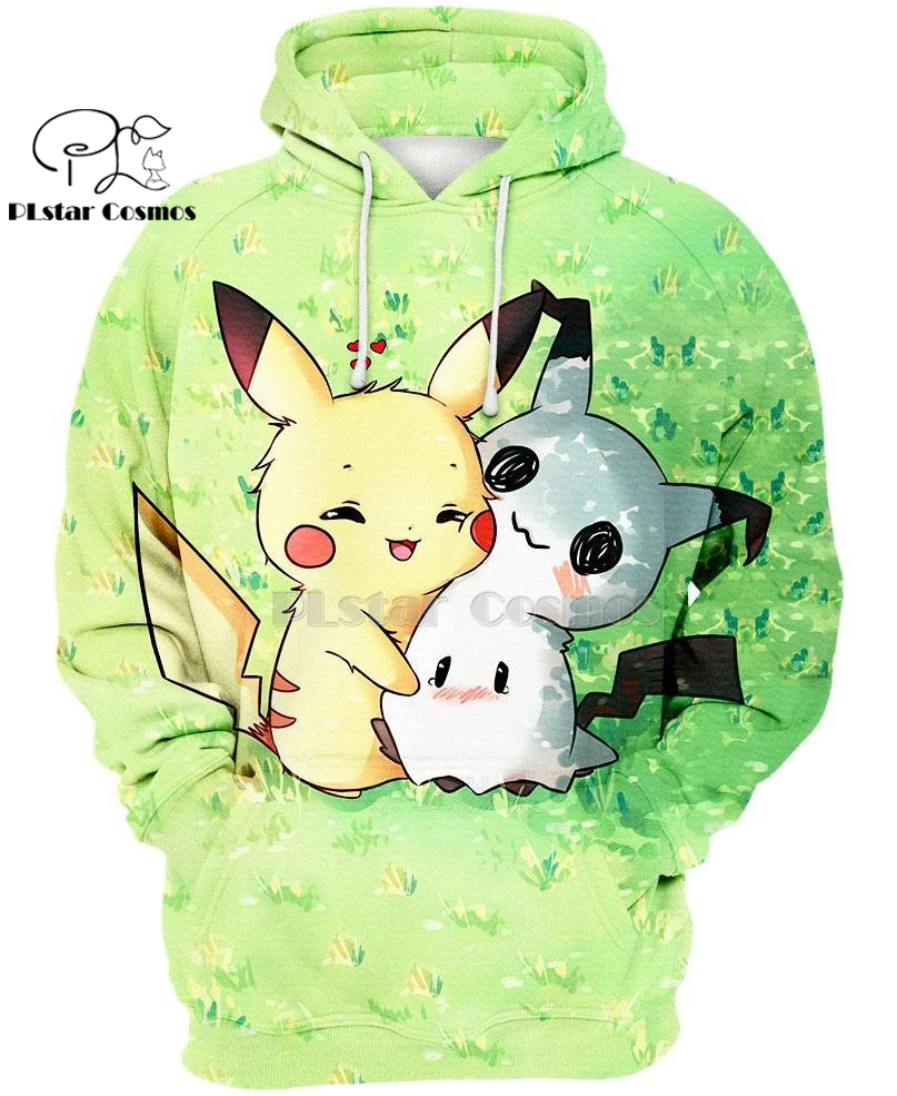 PLstar Cosmos Japan Anime Pokemon Mimikyu And Pikachu Cute 3d Hoodies/shirt/Sweatshirt Winter Autumn Funny Harajuku Streetwear