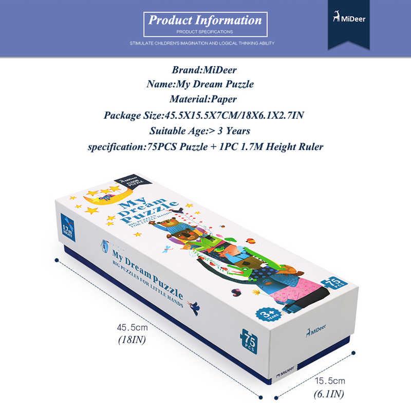 MiDeer Напольные Длинные головоломки 170 см (67 дюймов) длина головоломки 3-6 лет 75 шт. большие бумажные головоломки с линейкой высоты подарочные коробки