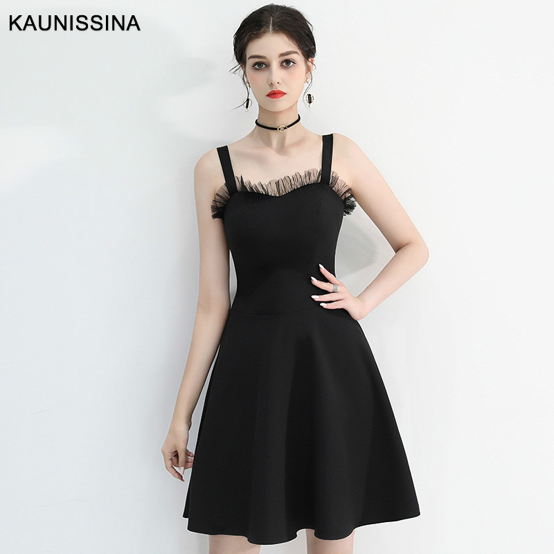 KAUNISSINA Cocktail Dresses Sexy Black Short Prom Dresses Sleeveless Strap Vestidos Elegant Banquet Formal Gowns Cocktail Robe
