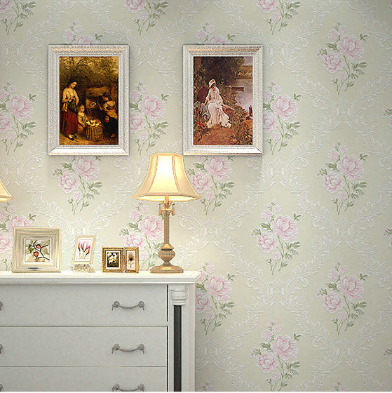 3D Pastoral Style Non-woven Wallpaper Romantic Stereo Peony Bedroom Living Room Television Background Wall Wallpaper
