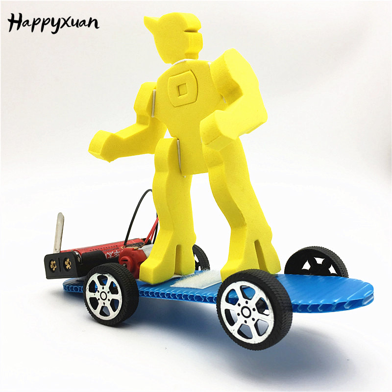 Happyxuan DIY 2-in-1 Skateboard Drift Robot Inventions Physics Kids Science Lab Kit School Projects STEM Education Learning Toys