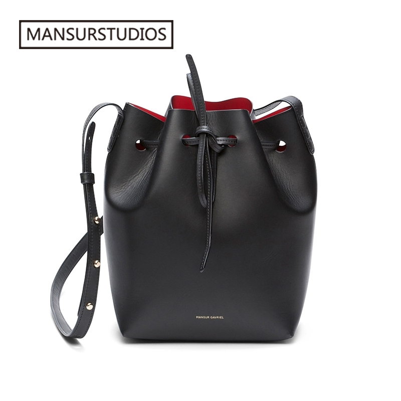 MANSURSTUDIOS MINI Bucket Bag Mansur Women Real Leather Shoulder Bag , Gavriel Ladies Leather Crossbody Bags  Small Bag For Girl