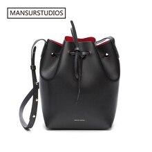 MANSURSTUDIOS MINI Bucket Bag Mansur women Real Leather Shoulder bag , Gavriel ladies leather Crossbody bags  Small bag for girl