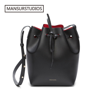 ANSURSTUDIOS MINI Bucket Bag Mansur women Real Leather Shoulder bag Gavriel ladies leather Crossbody bags