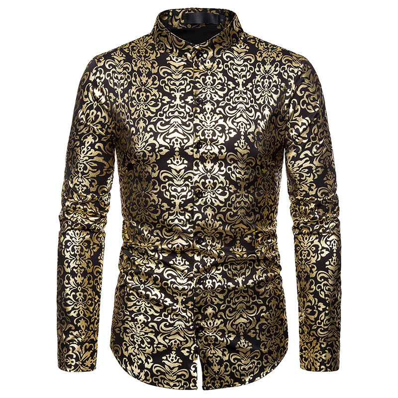 Luxury Gold Floral Print Baroque Shirt Men 2019 Spring Autumn New Slim Fit Long Sleeve Mens Dress Shirts Wedding Chemise Homme