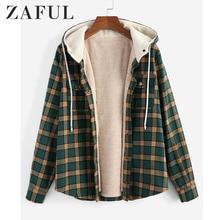 ZAFUL Women Plaid Hooded Fluffy Lined Snap Button Jacket Coats 2019 Winter Pocke