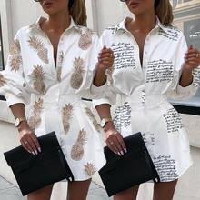 Chemisier blanc à manches longues et lettres ananas pour femme, chemise d'automne, 2019