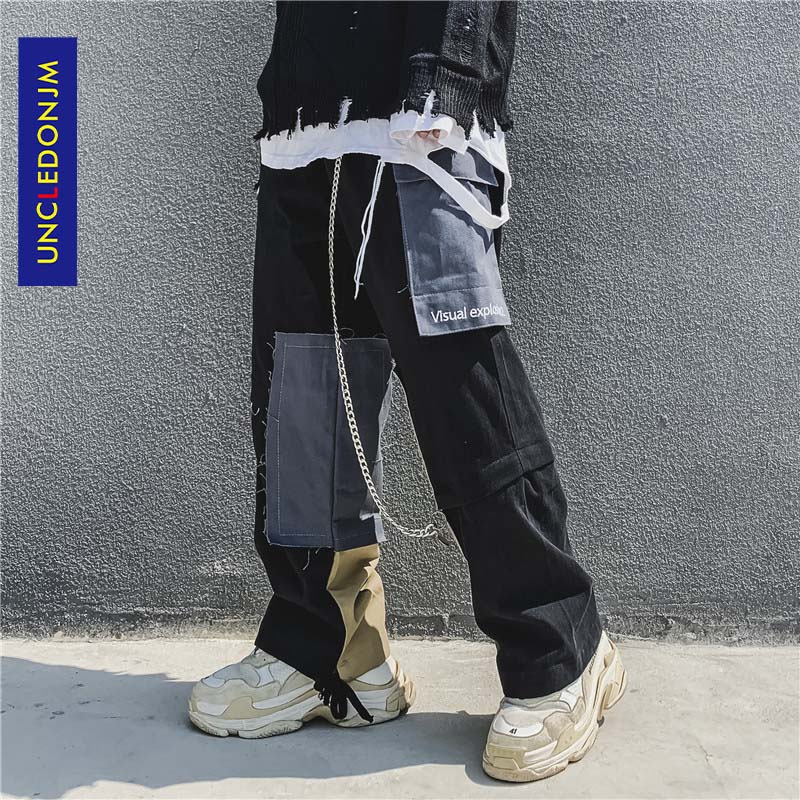 UNCLEDONJM Chain Patchwork Harem Pants Streetwear Men 2020 Summer Hip Hop Casual Trousers Fashion Male Pants V2-1998