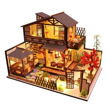 Chinese style Doll House DIY LED Lights 3D Wooden Miniaturas Mini Dollhouse Furniture Toys for Children Birthday Gift Xmas Gift