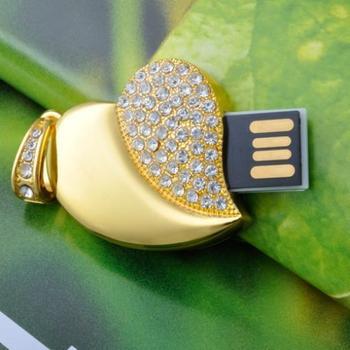 Waterproof Jewelry Crystal Heart Mini USB Flash Drive 64GB Jewelry Crystal Pen Drive 32GB Pendrive 16GB 8GB Memory Stick 1TB 2TB