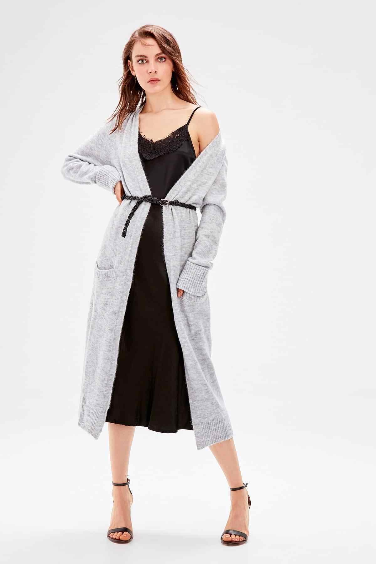 Trendyol Gray Pocket Detail Long Sweater Cardigan TWOAW20FV0124
