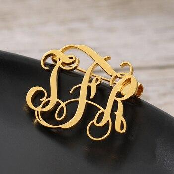 Broche de acero inoxidable personalizado con nombre, Pin con inicial de nombre,...