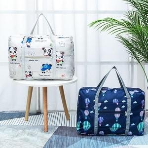 Waterproof Nylon Cartoon Gir Travel Bags Women Large Capacity Folding Duffle Bag Organizer Packing Cubes Luggage Bag