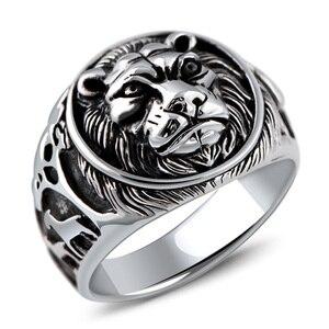 Image 5 - מוצק 925 כסף סטרלינג Mens האריה טבעת בציר Steampunk רטרו Biker טבעות לגברים עצי Deers חקוק זכר תכשיטים