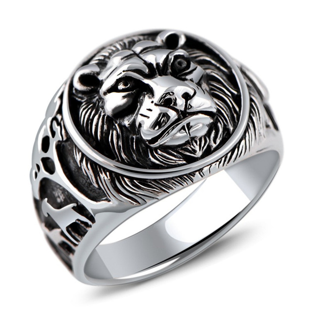 Bague homme lion argent