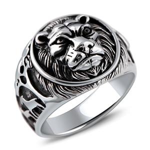Image 5 - Solid 925 Sterling Silver Mens LionแหวนVintage Steampunk Retro Bikerแหวนผู้ชายต้นไม้กวางแกะสลักเครื่องประดับชาย