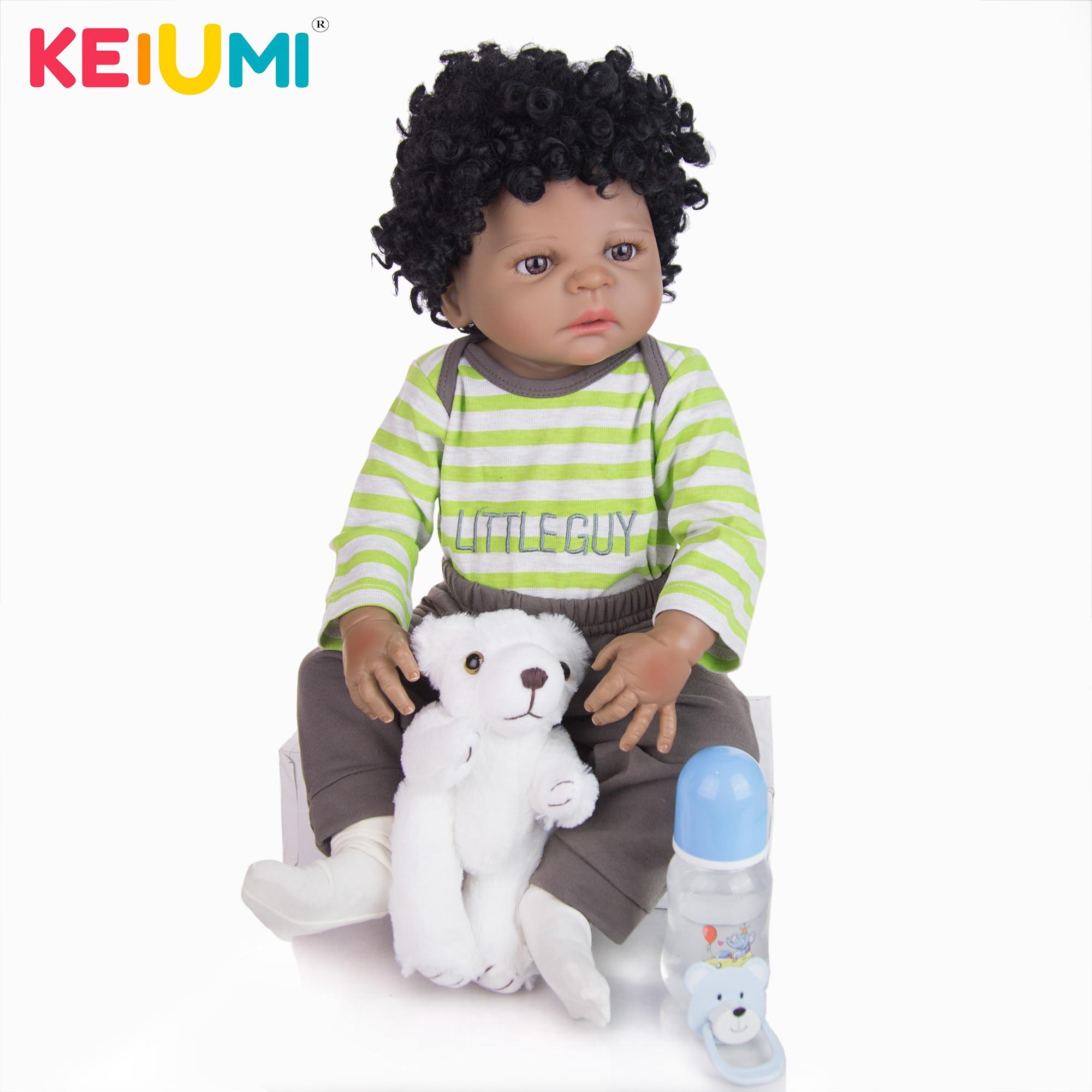"Biracial Reborn Baby Doll African American Boy 22/"" Black Skin Full Body Vinyl"