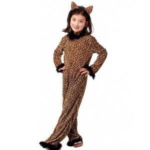 Image 1 - 아이들을위한 할로윈 레오파드 의상 소녀 키티 Catwoman 코스프레 겨울 키즈 동물 잠옷 가장 무도회 카니발 드레스