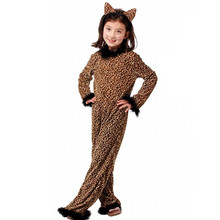 Halloween Leopard Costume for Children Girl Kitty Catwoman Cosplay Winter Kids Animal pajamas Masquerade Carnival dress