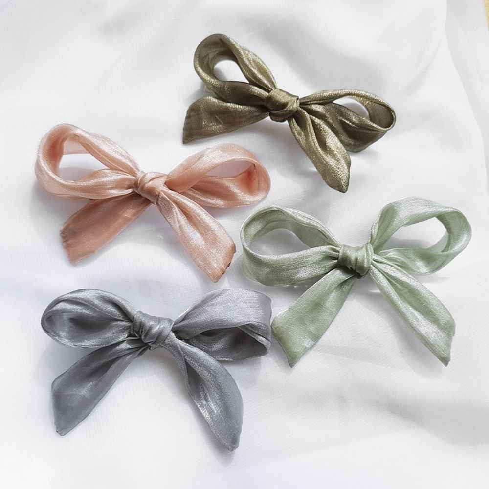 1pcs New Summer Korea Fashion Design Solid Color Lace Bowknot Hair Clips Pink Yarn Big Bow Hairpins Hair Accessories For Women