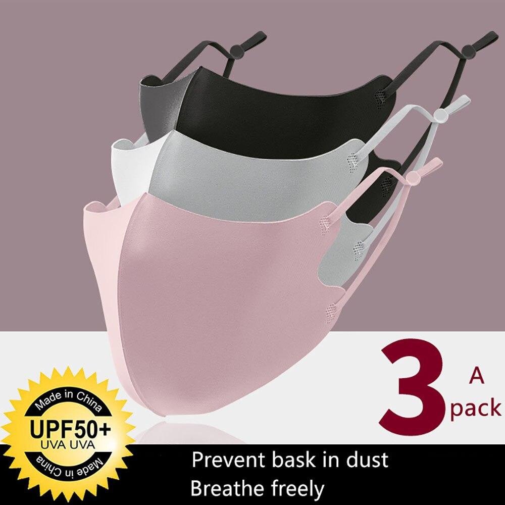 3Pcs Ice Silk Masks Bilayer Cotton Mouth Mask Haze Dust Washable Reusable Double Layer Dustproof Mouth-muffle Winter Mask