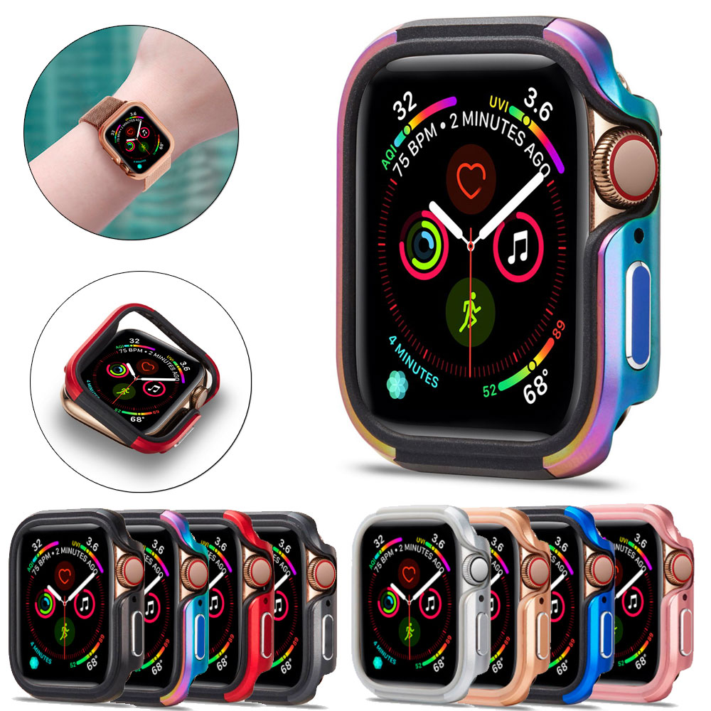 Bumper Watch Case Cover for Apple Watch Case 5 <font><b>4</b></font> <font><b>3</b></font> <font><b>2</b></font> 44MM 42MM 38MM Soft Clear TPU+Alloy Protector for iWatch 5 <font><b>4</b></font> <font><b>3</b></font> 44MM 40MM image