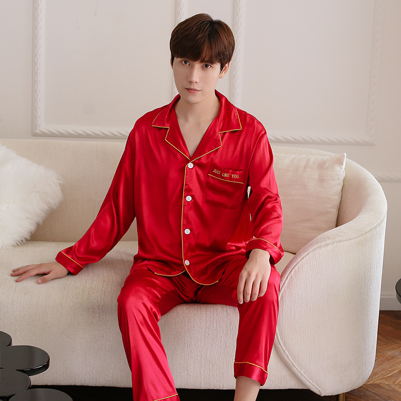 Red Spring Sleepwear Sets Mens Shirt Pants Suit Casual Night Robe Pajamas Male Home Wear 2PC Nightwear Sleep Kimono Bath Gown