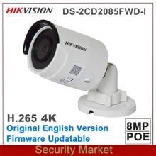 Hikvision original inglês DS-2CD2085FWD-I 8mp rede bala câmera 4 k poe h.265 + h.264 ir ip67 cctv câmera sd slot para cartão