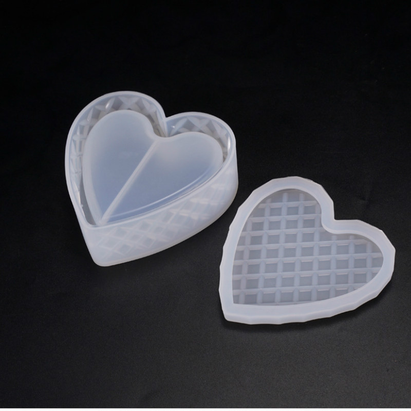 Faceted Heart Trinket Box Silicone Mold Heart Dish Mold Tray MoldKawaii Epoxy Resin Art Supplies UV Resin Craf Silicone Mold